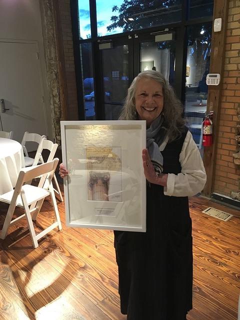 Shelley Hickman Clark with her 2017 LPA Preservation Achievement Award.