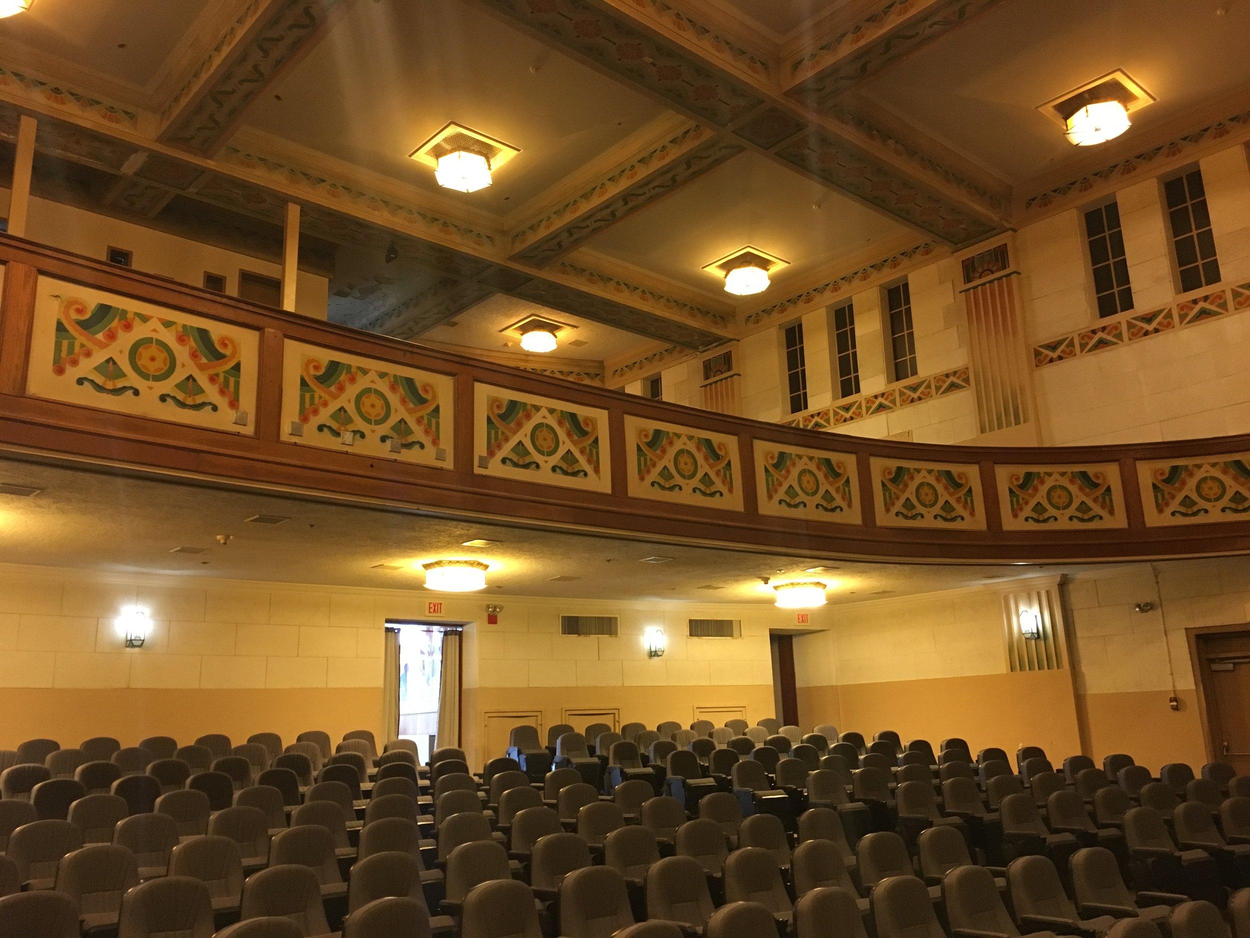 Art Deco auditorium balcony and ceiling