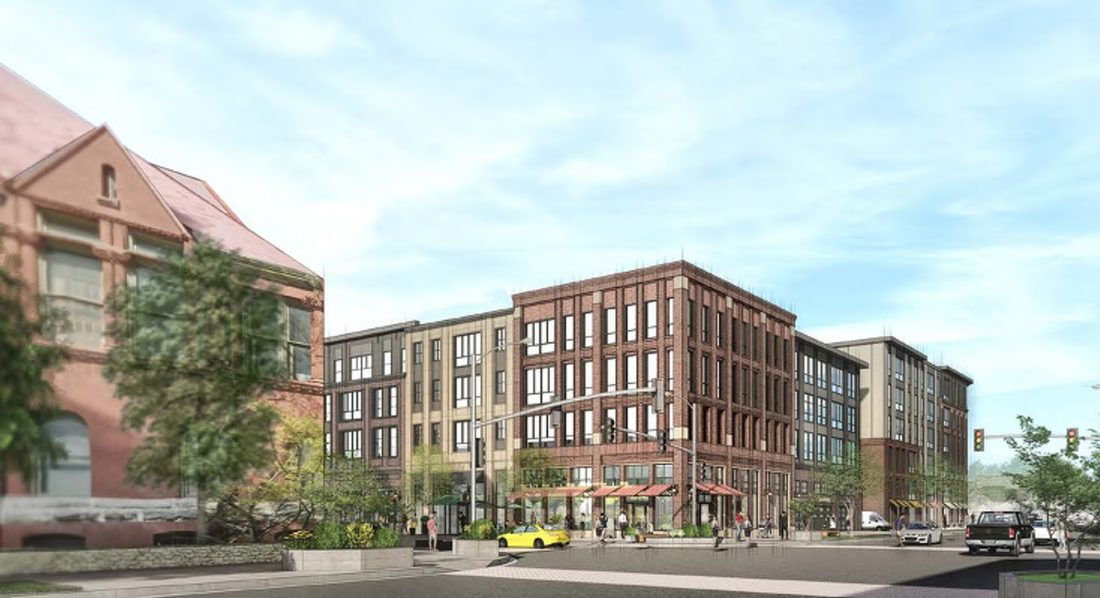 Architect's rendering of the proposed HUB project. The Watkins museum is on the left.