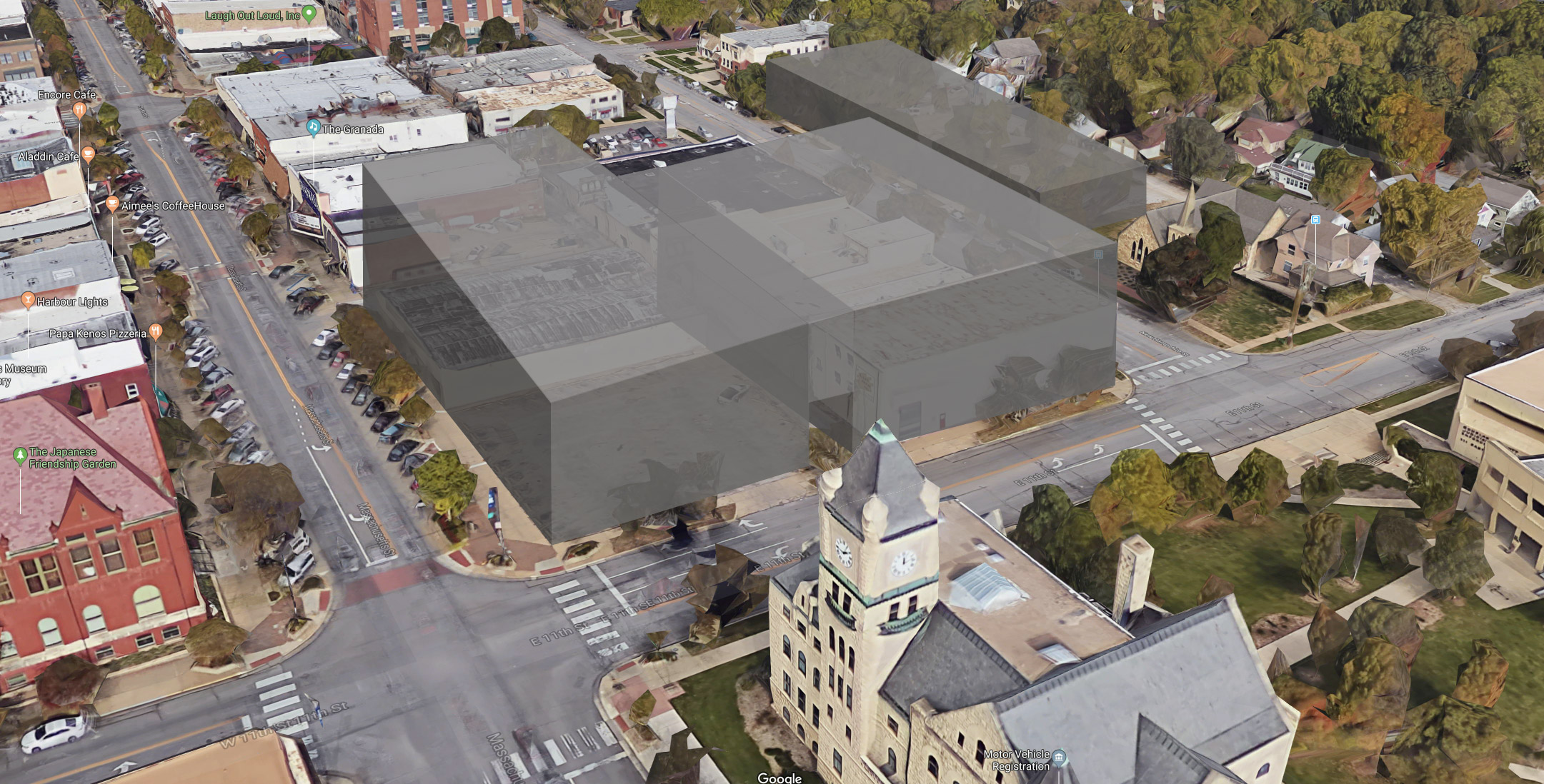 This photo illustration was prepared by LPA to show the approximate size and mass of the proposed HUB project and its relationship to Massachusetts St., the surrounding buildings, and nearby historic properties like the Watkins Museum (lower left), the Douglas County Courthouse (lower center) and the Old English Lutheran Church (upper right, adjacent to the proposed HUB parking garage on New Hampshire St.).