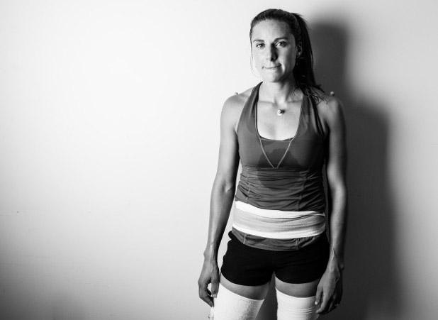 Anya,post-running analysis. Photo by Tom Robertson