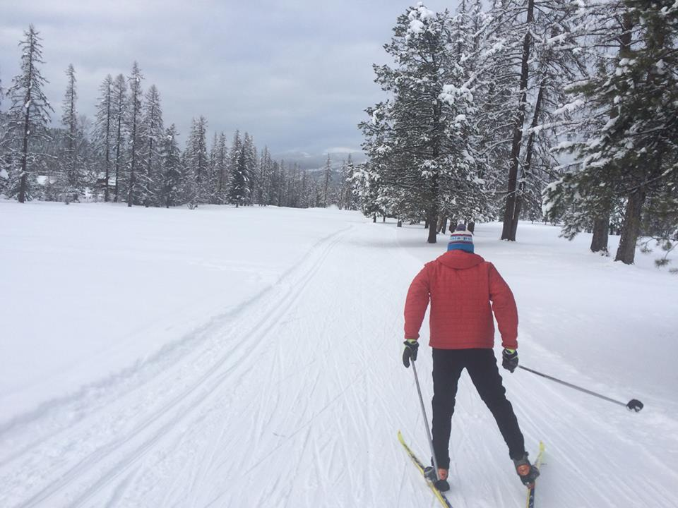 Jamie skate skis with her husband Doug on the pristine Whitefish nordic trails.