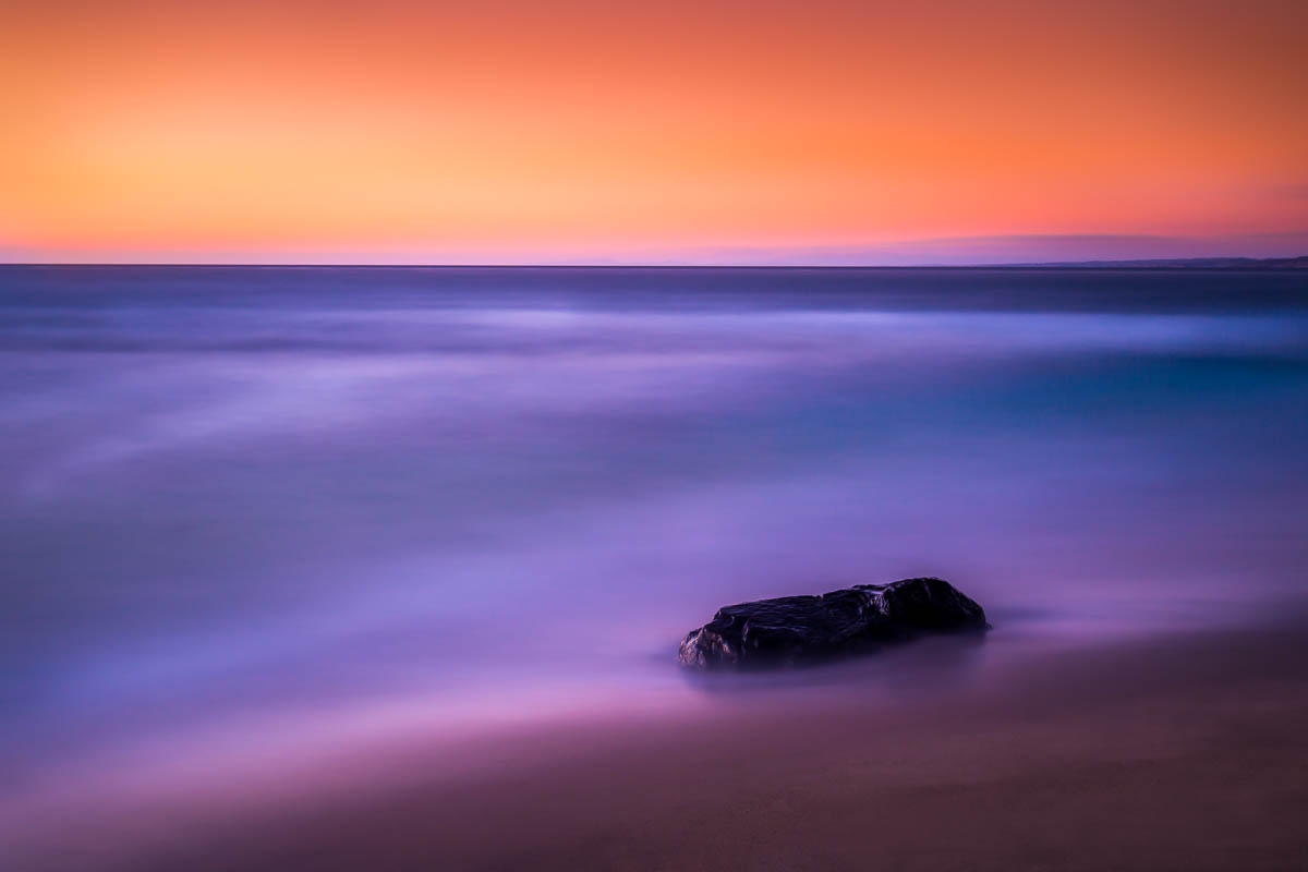 Long exposure seascape at sunset in San Diego, CA