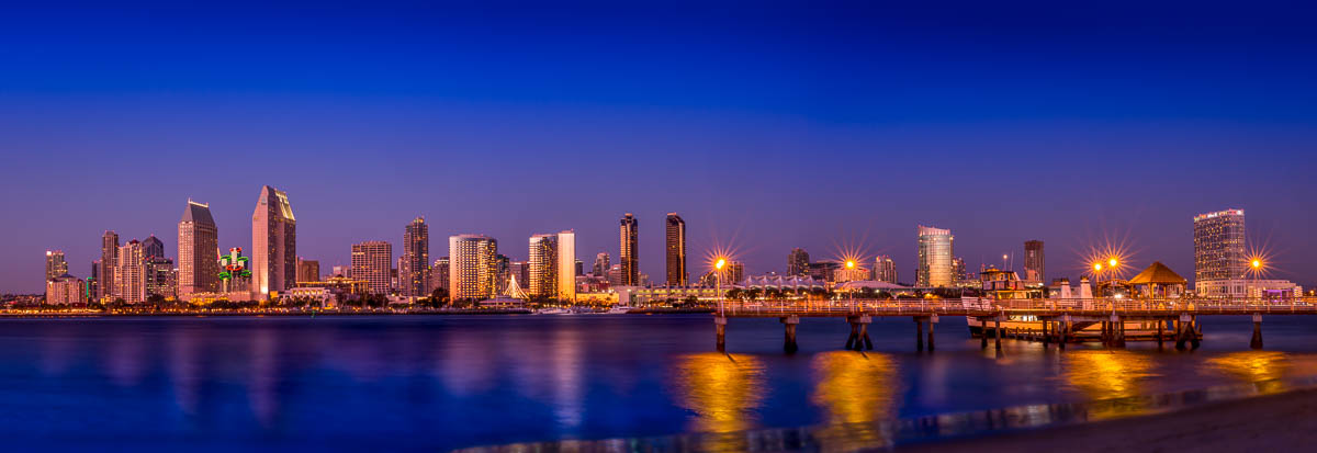 San Diego Skyline from Coronado with Pier