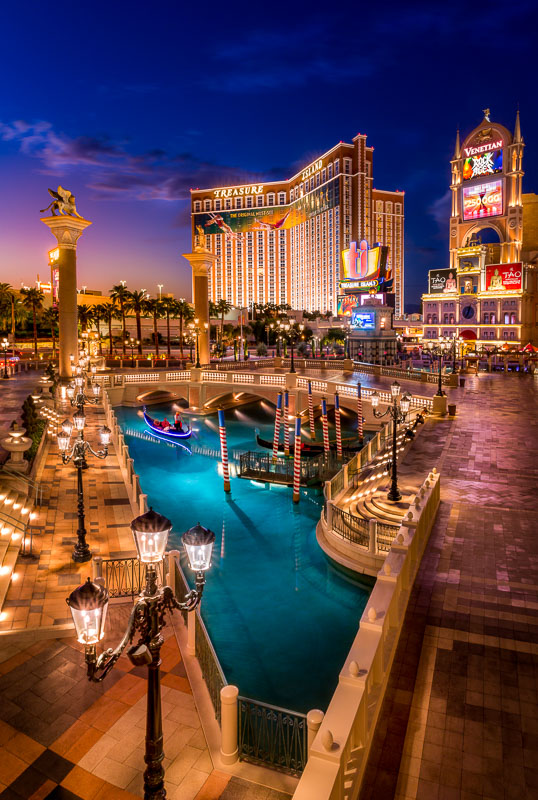 A typical scene in Las Vegas, complete with gondolas at the Venetian