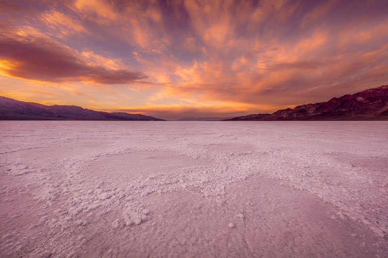 Sunset at Badwater Basin in Death Valley National Park