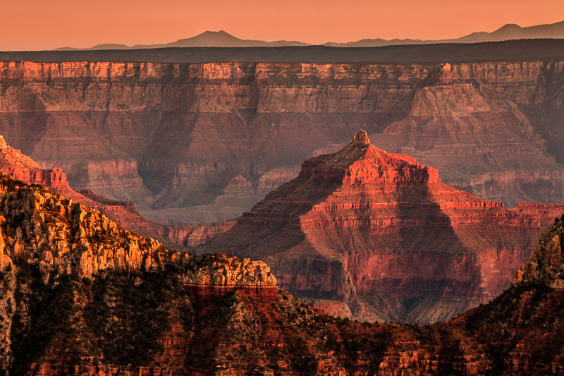 Last rays of sunlight on the North Rim, Grand Canyon National Park