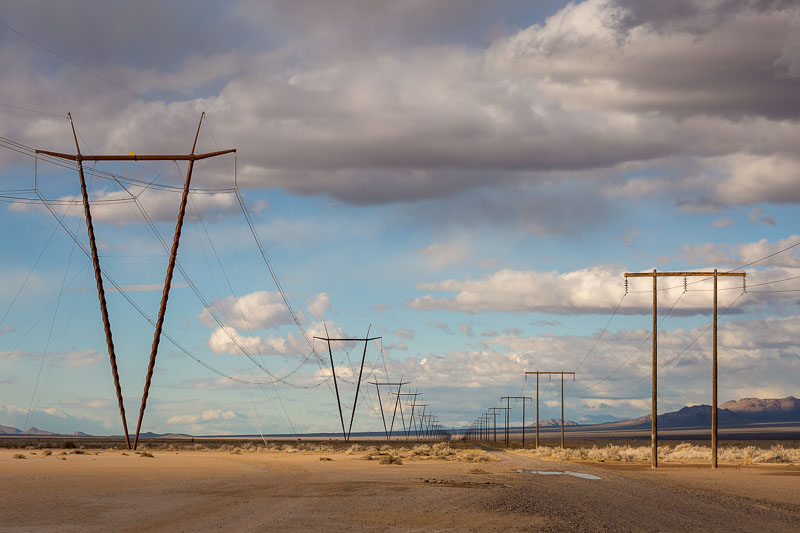 Electrical lines along Poleline Road, Nevada
