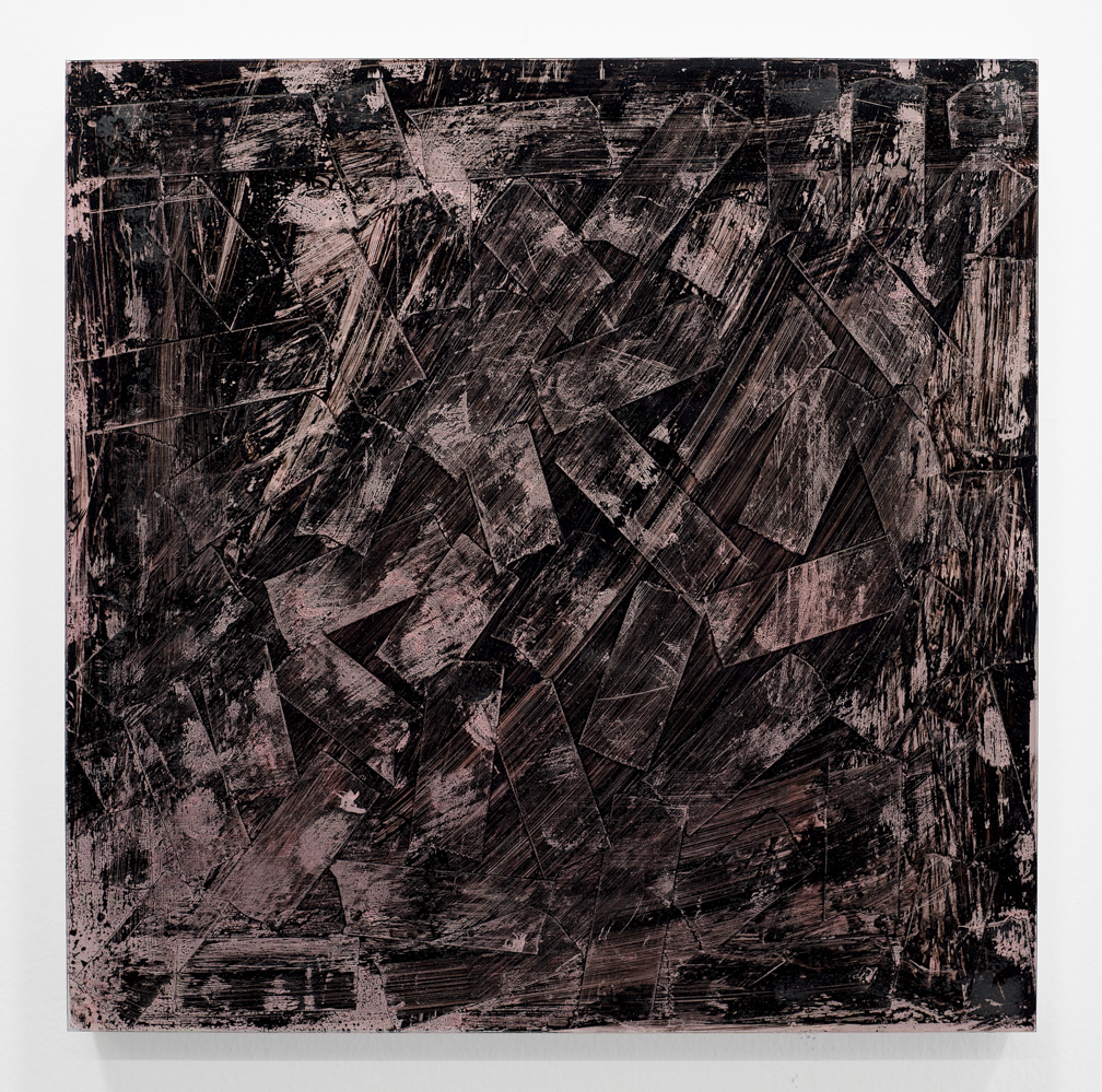 "UNBROKEN 19 Study 2018 10"" x 10"" Scotch tape, plexiglass, india ink, glue and oil on wood panel"