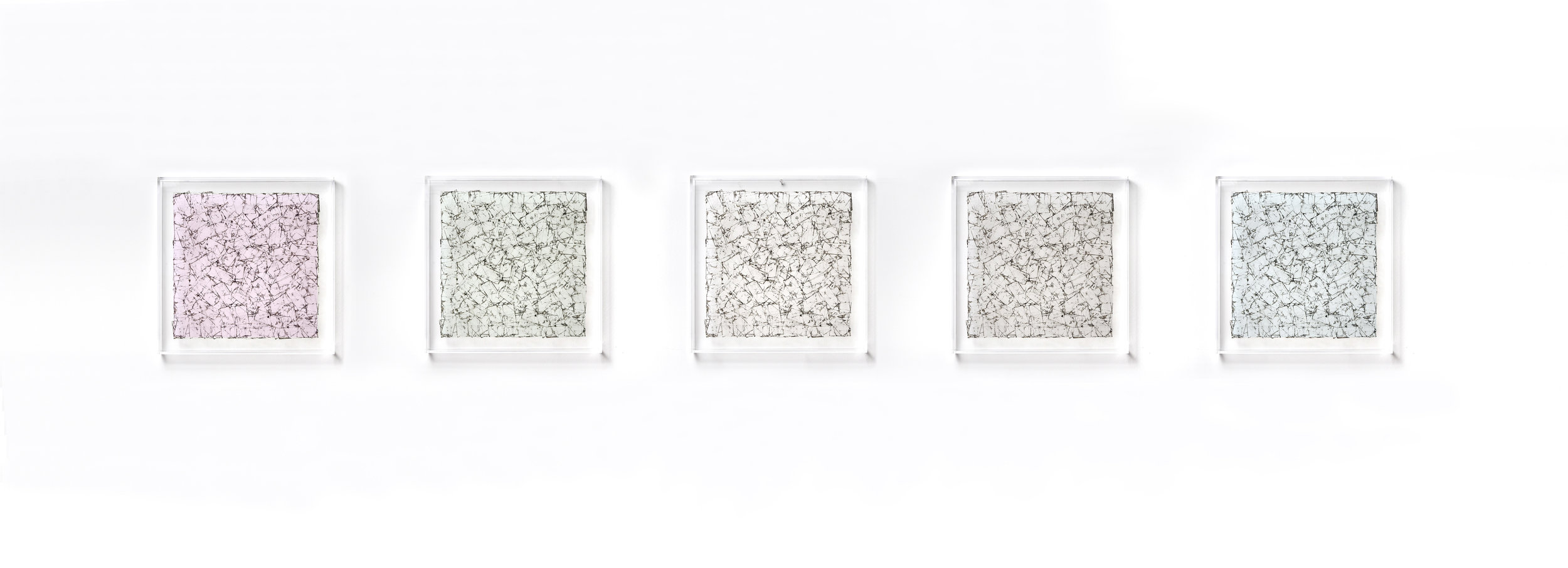 "Series of 5 12"" x 12"" plexi box tape pieces"