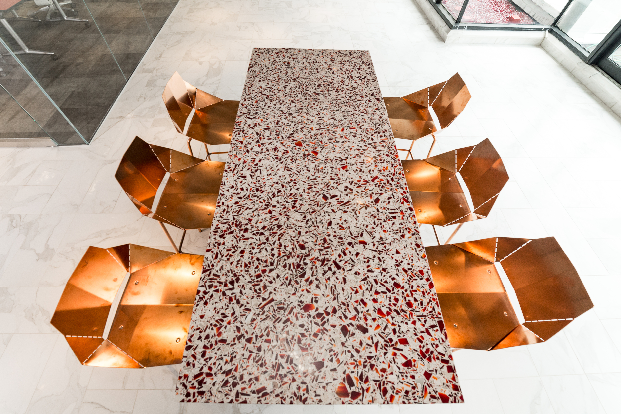 Ruby Red Vetrazzo Table