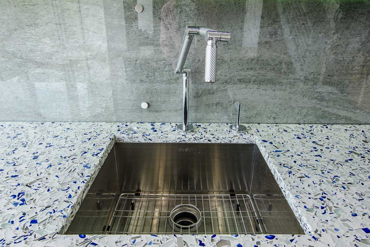 Chivalry Blue Vetrazzo Kitchen Countertop