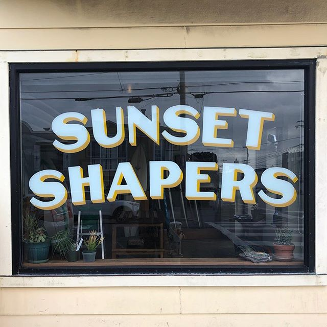 New window art by @treatunice #surfshop #handpaintedsigns