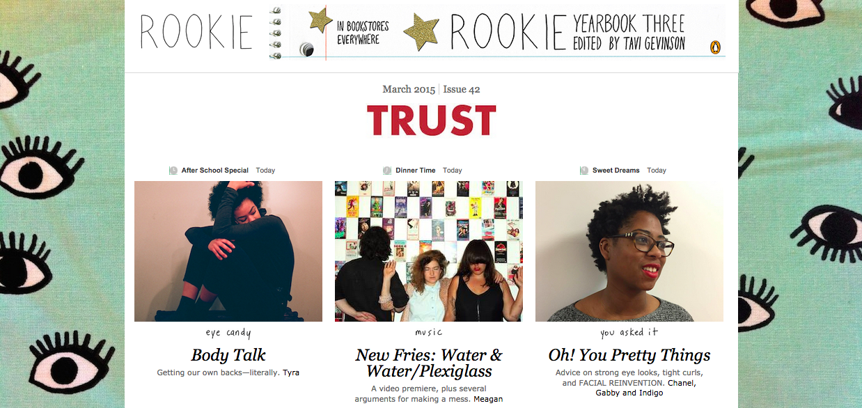 Oh, you know, she just hangs out on the Rookie homepage. Like a LADYGUN.