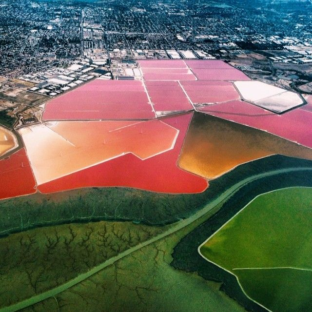"""""""I shot this Instagram from a plane into SFO, on my way home from the Palm Springs Photo Festival. I loved the crazy vivid colors of the salt ponds. If you love them, too, you can    buy a print    for $8!"""" - Emily Shornick"""