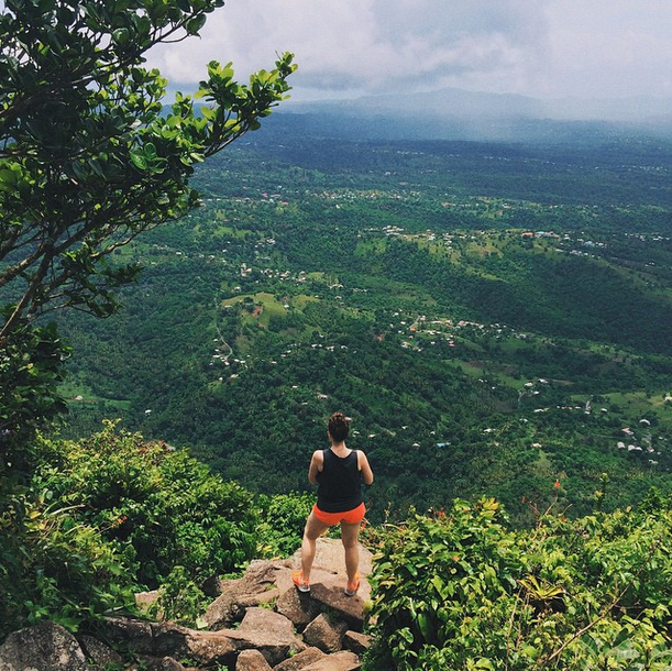 """""""As much as I love exploring, more often than not, I have to challenge myself (or, be convinced) to go a bit further outside my comfort zone to really get the most out of the experience. When on our honeymoon in St. Lucia, [my husband] Tom wanted to climb Gros Peton—a 4-hour hike with a dauntingly steep climb for half the trek—while I would'vepreferred to... not do that. I didn't think I could; it was hot, sweaty, painful, incredibly difficult. But I did it, and I enjoyed it. This photo is a reminder to push myself not only out of my comfort zone, but to not automatically see things through a negative lens. The result is worth it."""" - Sarah Williams"""