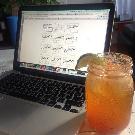 """""""Making charts and drinking cocktails!  """" Photo: Courtesy Allison McCann"""