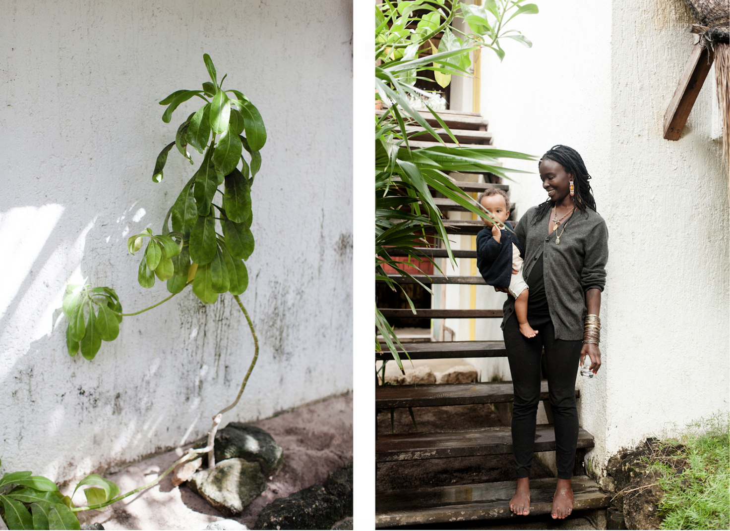 """""""From my trip to Tulum, Mexico. Took these two images at the same hotel, and loved how they played off of each other. Her holding the baby and the plant seemingly having an arm extended out to the small palm.""""  