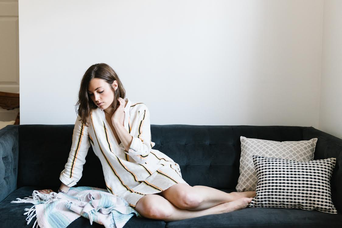 Lounging in my apartment. Photograph by Julia Robbs for Urban Outfitters.
