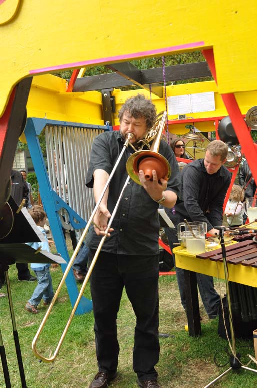 "performing in the ""Rimbahouse"" @ Sonic Playground 2012  (Martin Fisk playing the ""Quadrabalarimbamaphone"")"