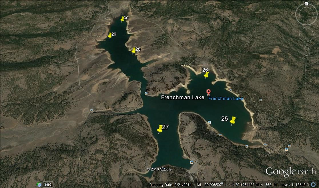 Frenchman Lake, like Davis, was created as mitigation for Lake Oroville (Antelope Lake is the third). It is also managed by CDFW primarily as a cold-water fishery. For the UFRBWA, the samples collected from both sites will be analyzed to determine the complete fish assemblage present.