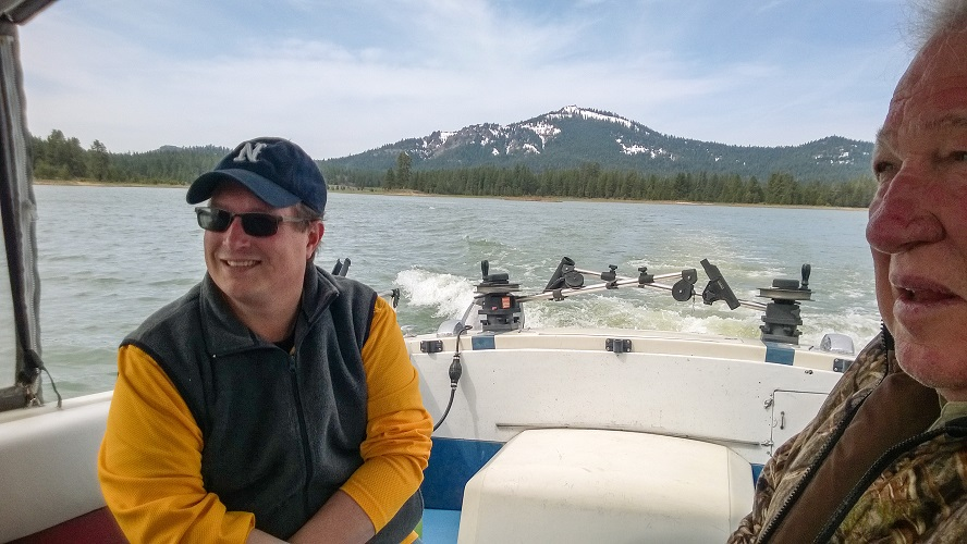 Dr. Jerde (left) and UFRBWA project advisor Mike Kossow couldn't help themselves but to talk extensively about fishing in Montana, of course!