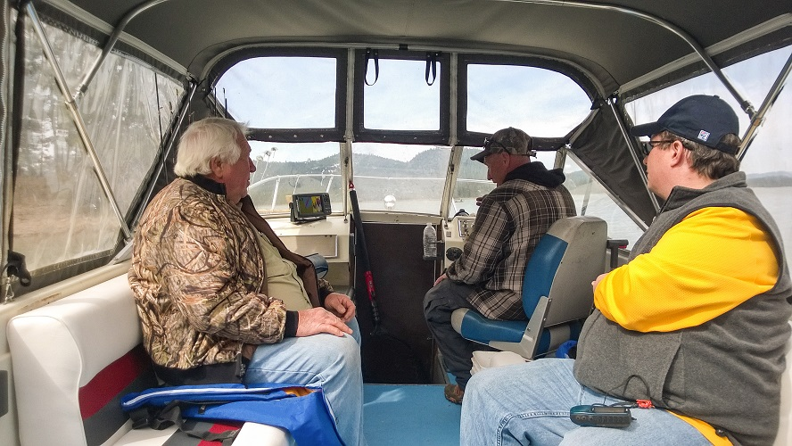 Ed Dillard (at the wheel) is an experienced local angling guide. He was more than willing to share his vast knowledge of species distribution in Lake Davis, helping us to decide what specific areas we should sample in!