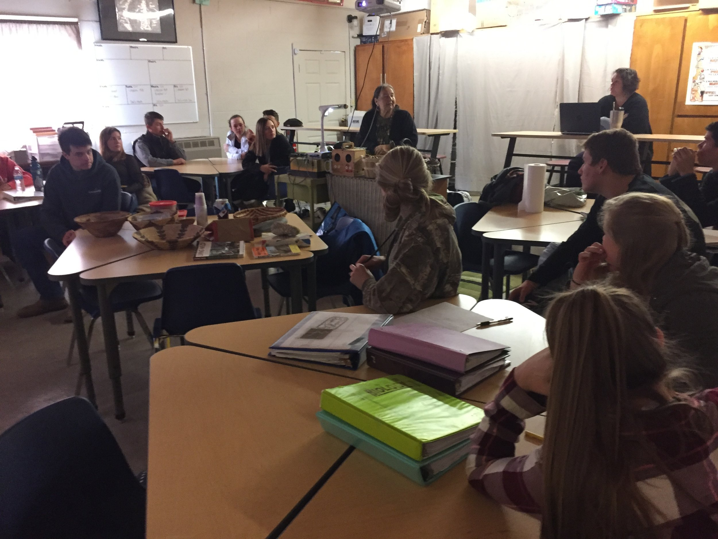 Lorena talking about the importance of acorns in Veronica Tilton's science class at the Indian Valley Academy, Plumas Charter School.