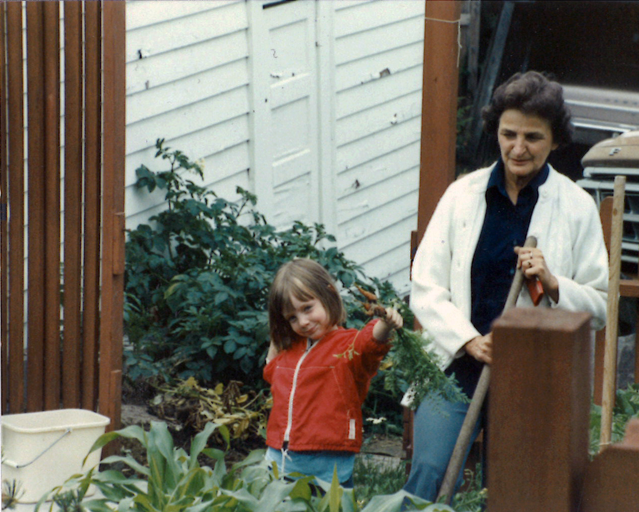 Me and my grandma, Marge, in her vegetable garden.