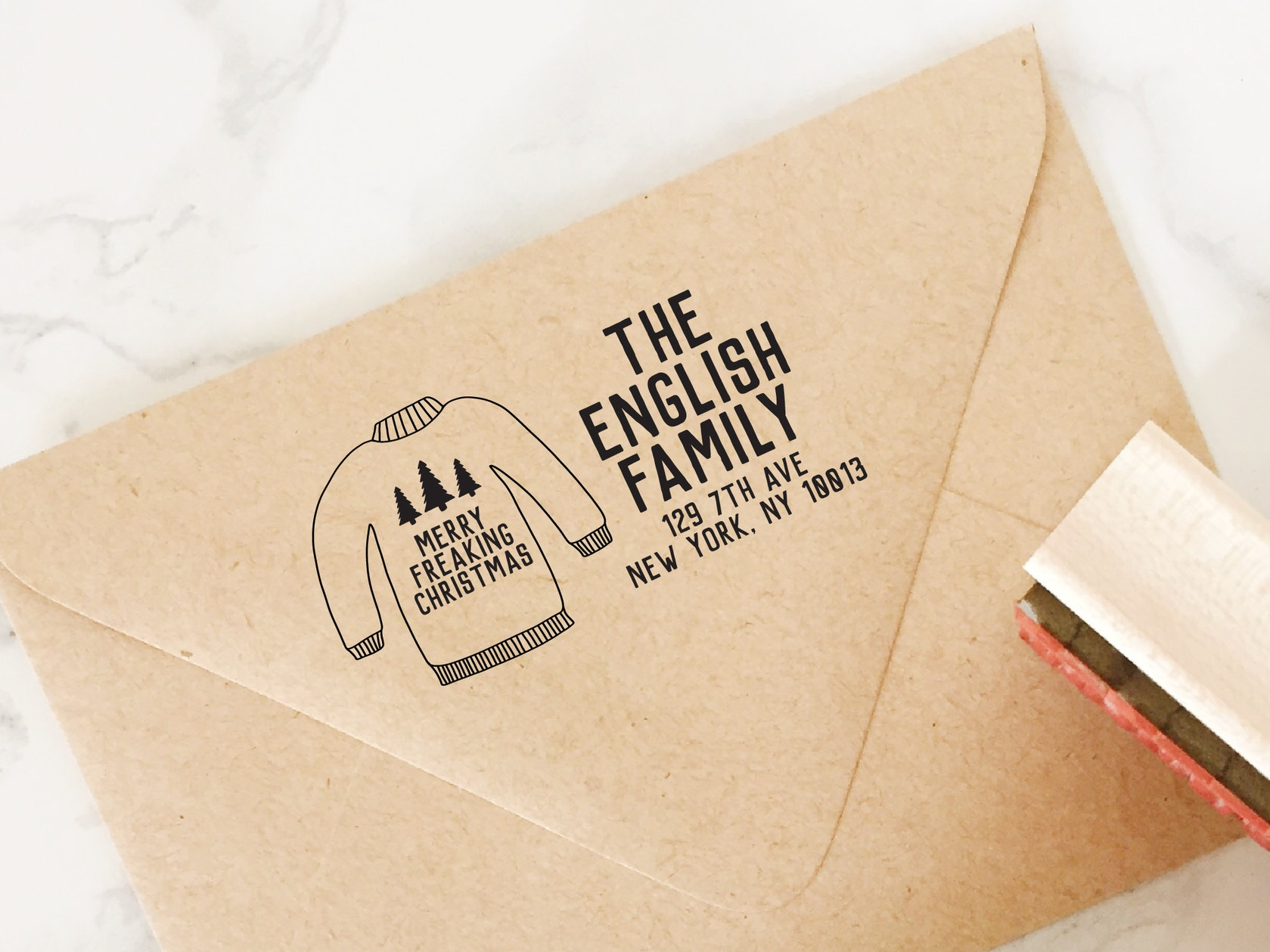 Ugly Sweater Holiday Address Stamp by Hello World Paper Co.