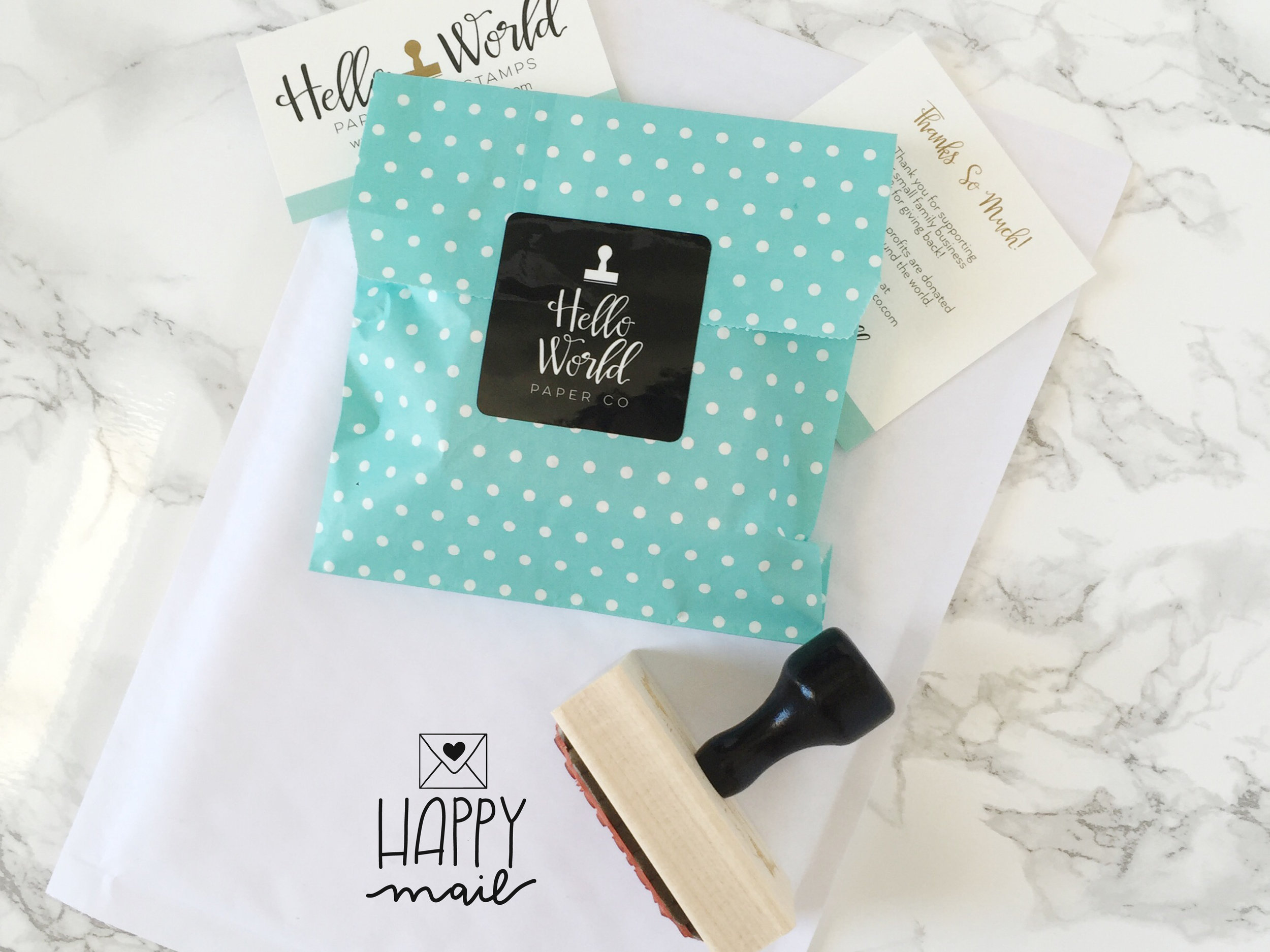 Happy Mail Stamp by Hello World Paper Co.