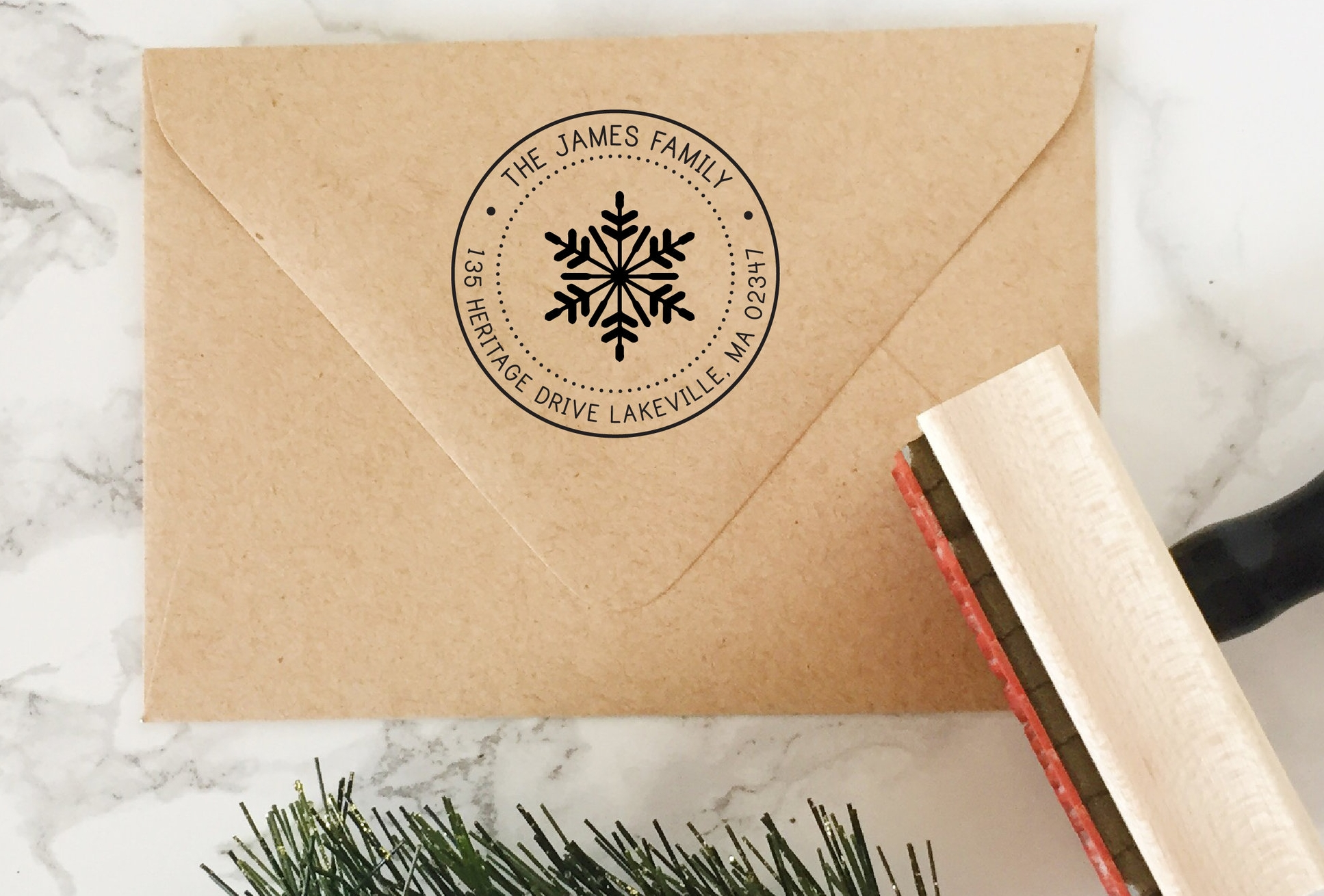 Snowflake Address Stamp by Hello World Paper Co.