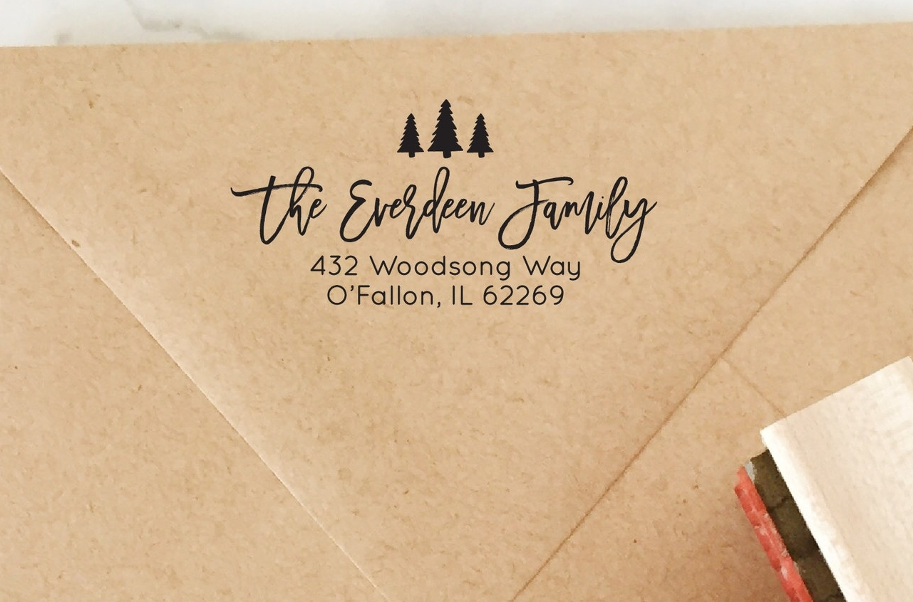 Pine Tree Address Stamp by Hello World Paper Co. & Stamps