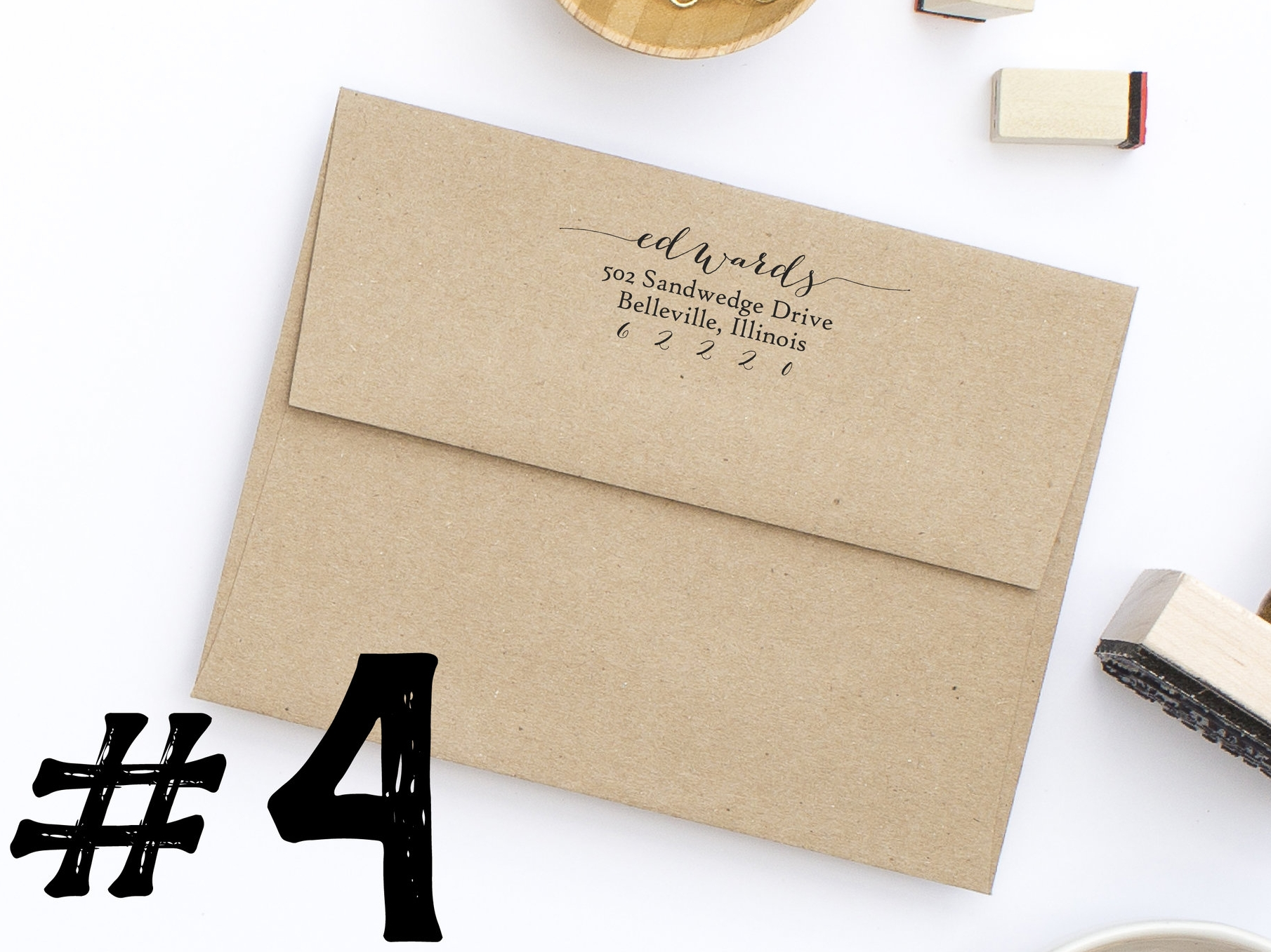 Address Stamp Style No. 43 By Hello World Paper Co.