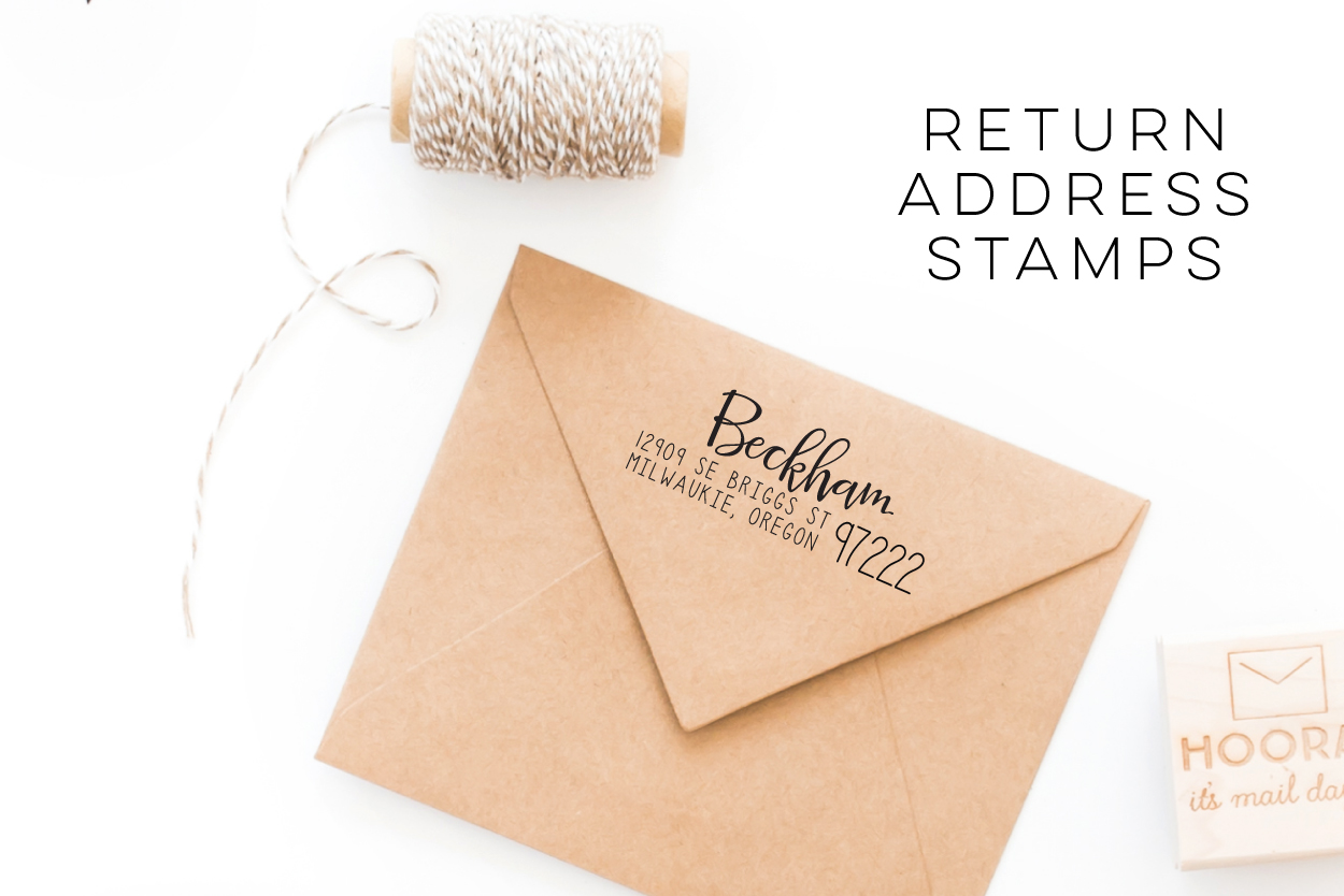 Return Address Stamps by Hello World Paper Co.