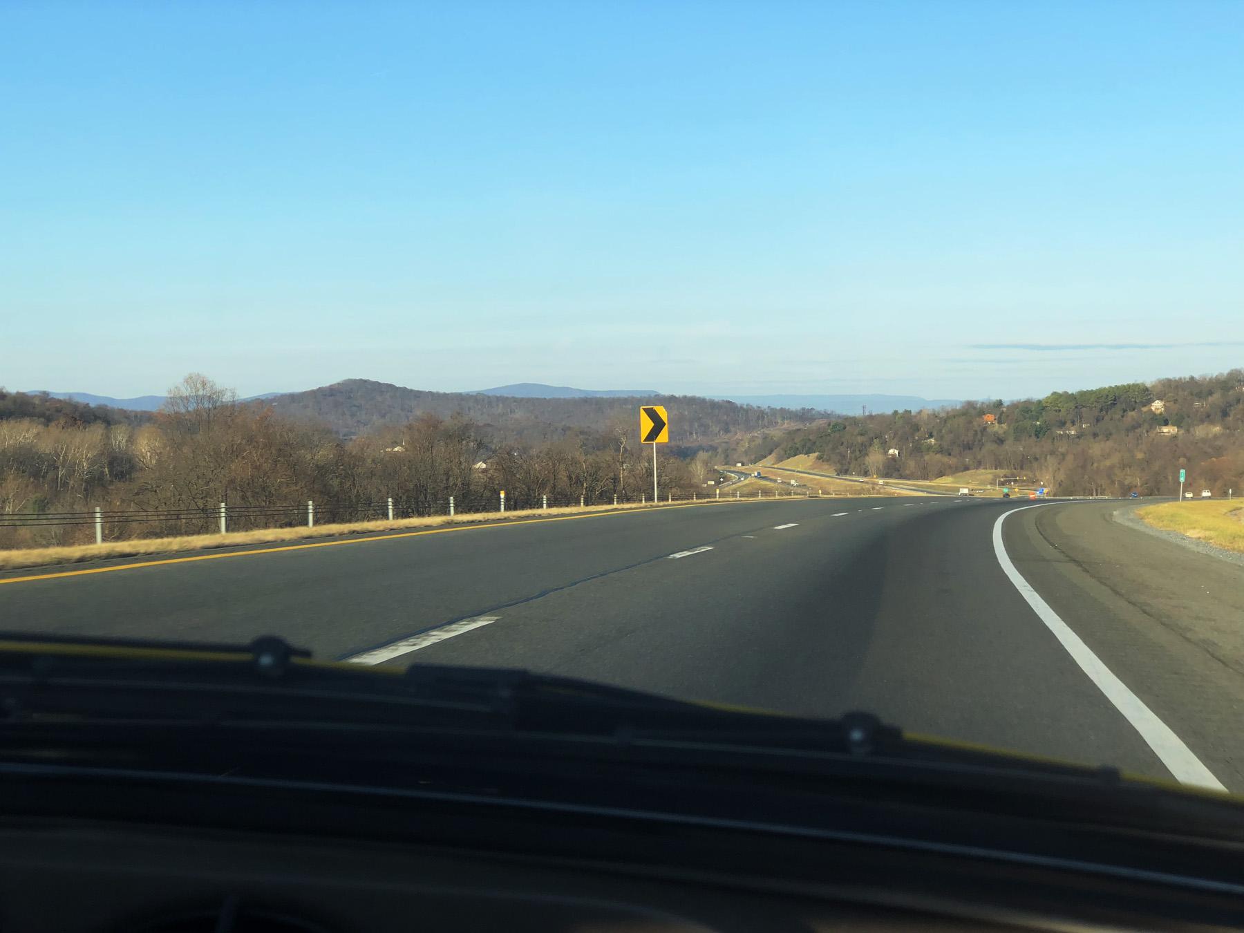 Open road. Beautiful Virginia landscape.
