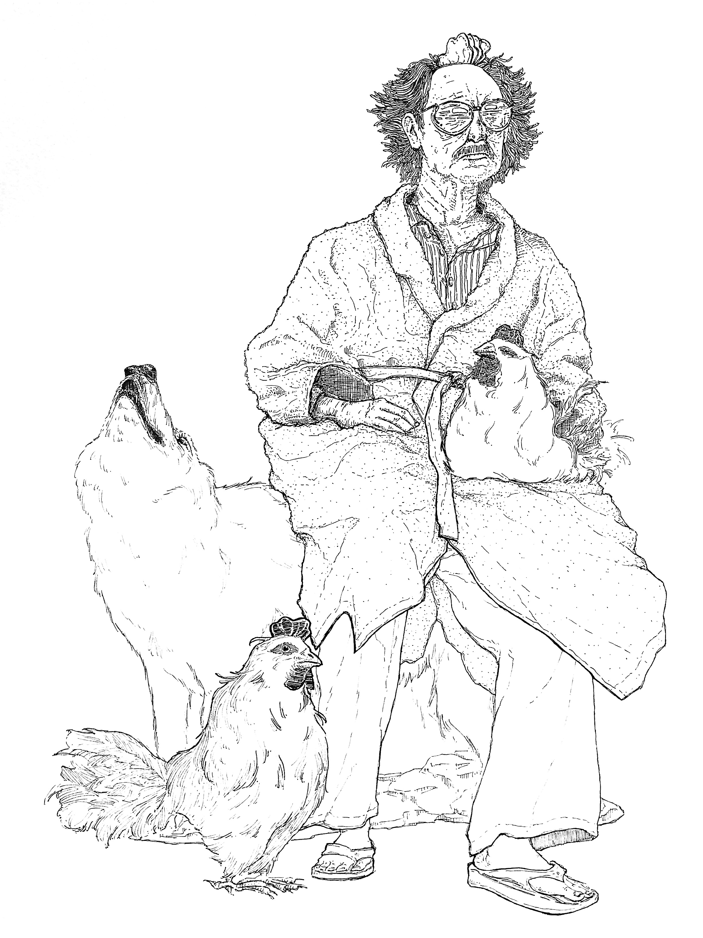 Man with Wolf and Hens