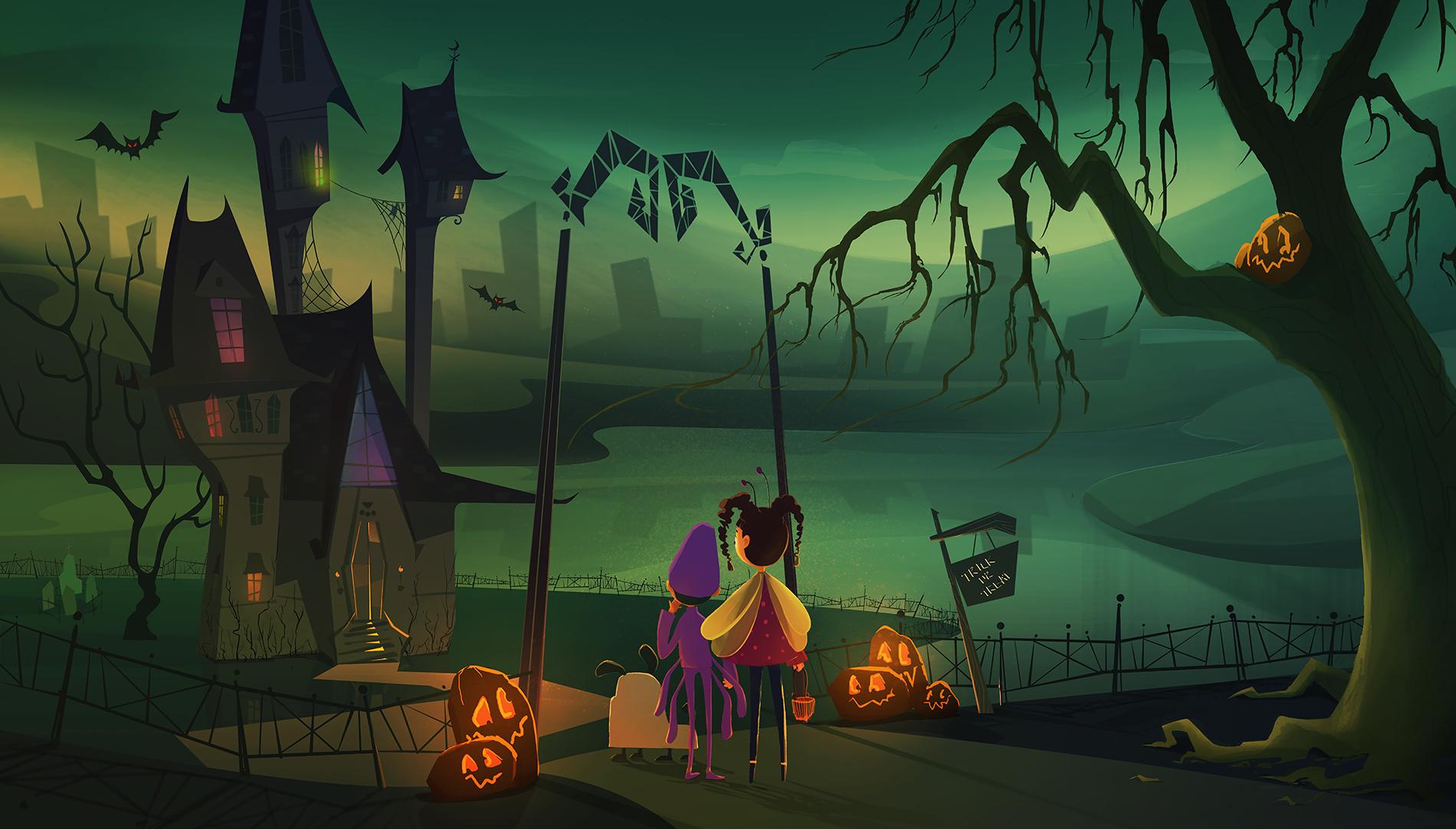 "Halloween - exterior shot ""Trick or Treat?"""