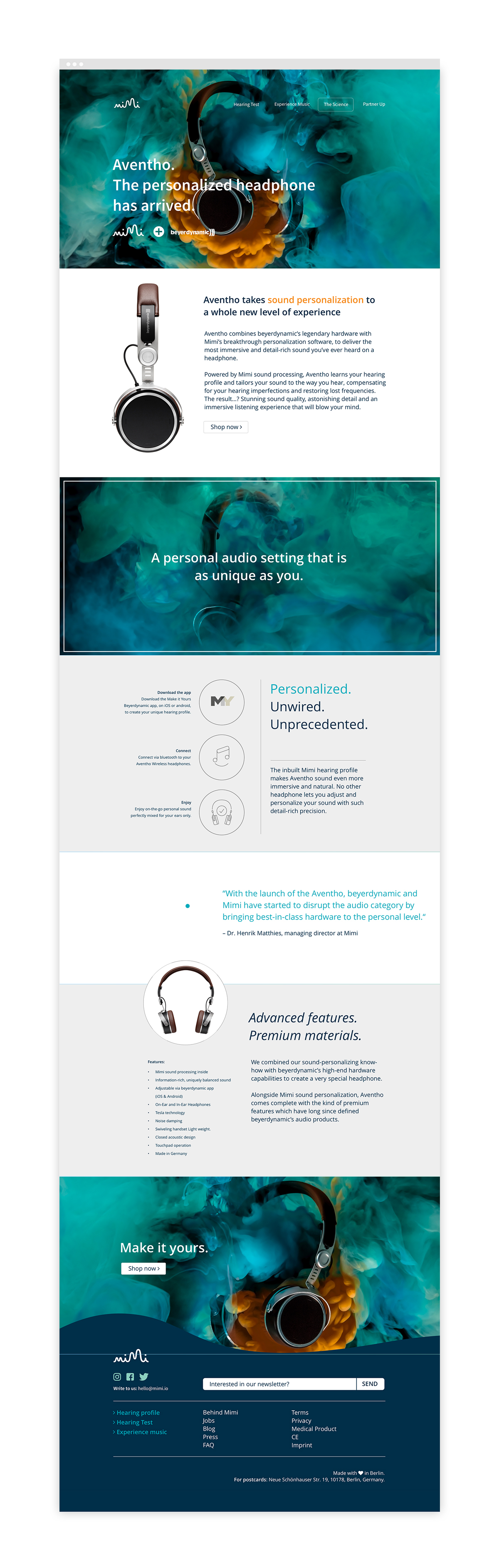 Alongside of working with the website and SoMe I attended weekly meetings to contribute in the development of the MIY-app-integration of the Mimi Hearing technology for the  Aventho  headphones by  Beyerdynamic .