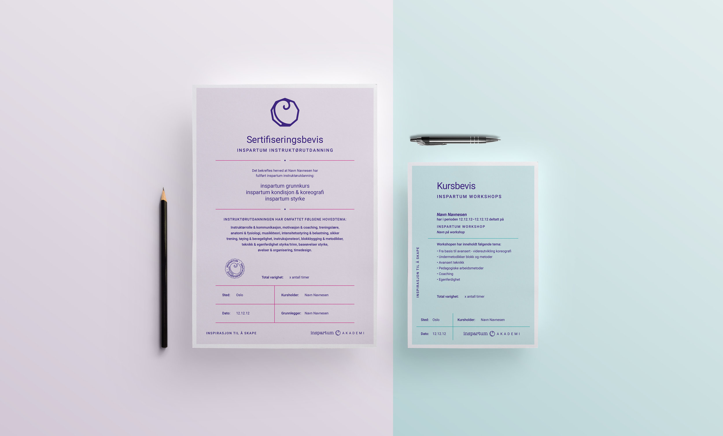 Left: A4 diploma for instructors. Right: A5 diploma for workshop participants.