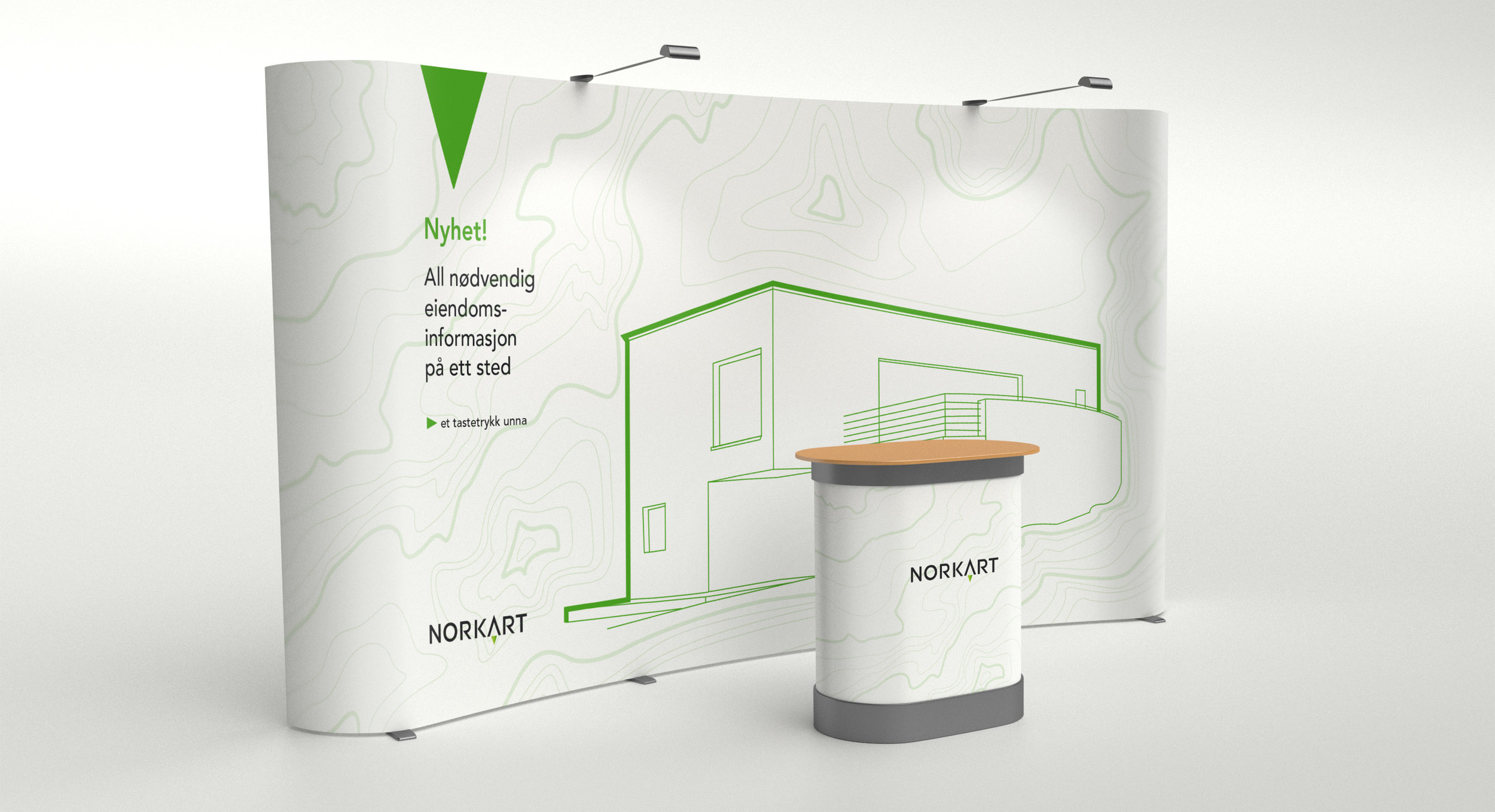 While working on the campaign we also updated their brand presence. This stand was produced for a real estate conference.