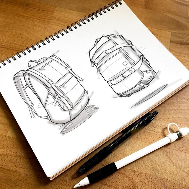 🗒🖊🙌🏼 . . . . #backpackdesign #id #productdesign #sketch #process #idsketching #sketching #sketchbook #illustration  #conceptsketch #ideation #bagdesign #design #softgoods #backpack #adventuretravel #travel #cordura #everydaycarry #edc #travelbackpack #onebackpack #instasketch