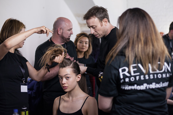 John Vial and the Revlon Professional team hard at work for London College of Fashion's BA16 Show.