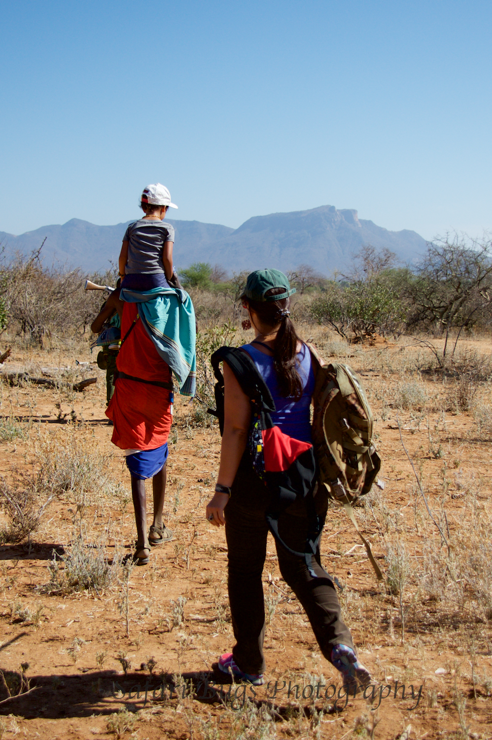 Walking to the Singing Wells with our Samburu Guide
