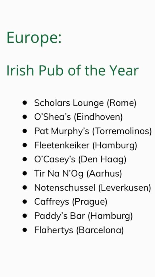 Scholars Lounge Irish Pub Rome - has been nominated in 9 out of 12 categories in the award winning annual  Gala organised by the Irish Pubs Global Federation. Above all the most important nomination to our Pub is the Best Irish Pub in Europe.