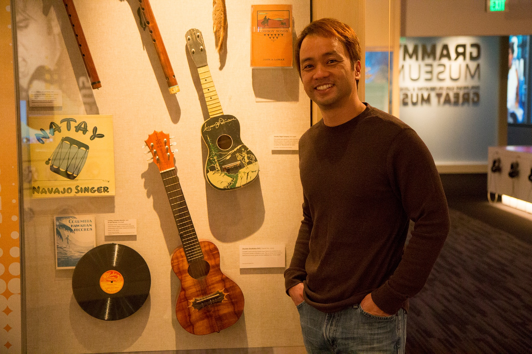 Daniel with his 'ukulele on display at The Grammy Museum