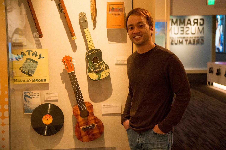 Daniel with his custom KoAloha D-VI ʻukulele on display at the GRAMMY® Museum