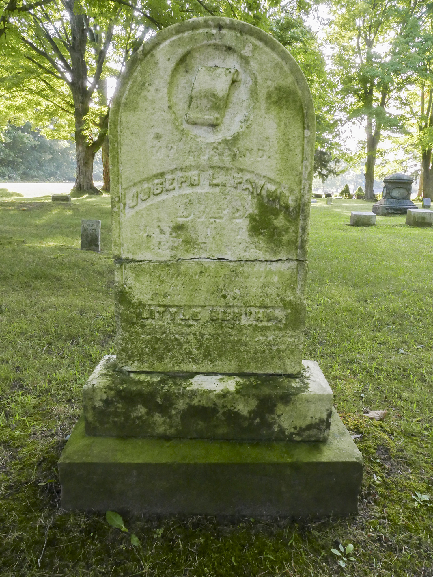 "note the inscription near the base of the stone: ""Little Bertha"""