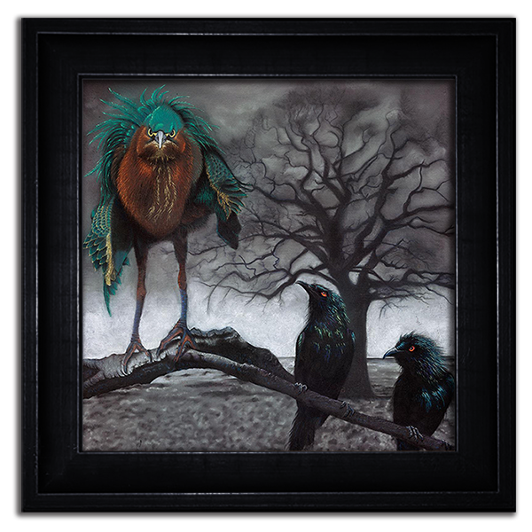 Angry Green Heron & Adoring Metallic Starlings