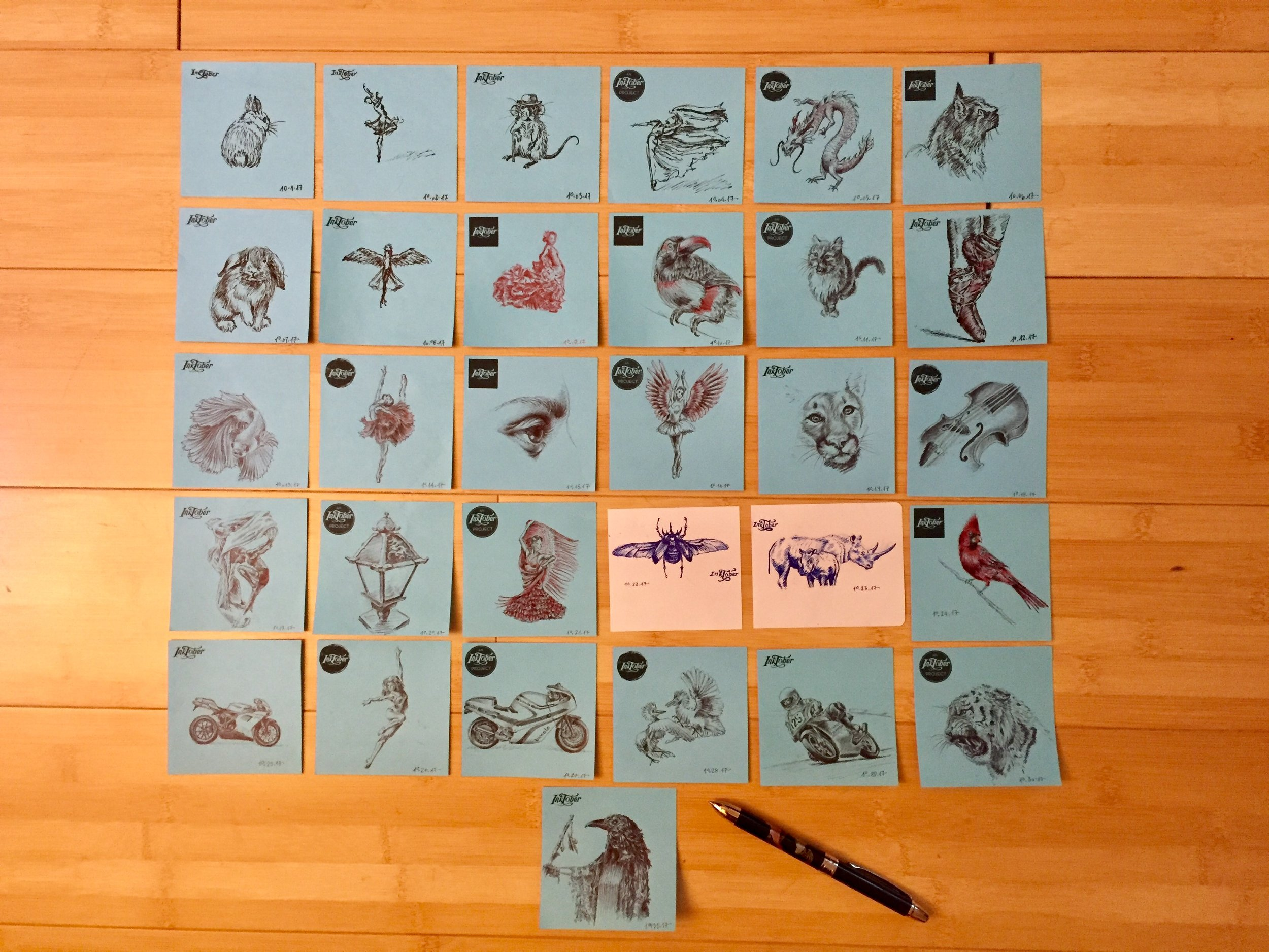 All the drawings together with a pen for scale